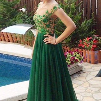 Green Applique A-Line Prom Dresses