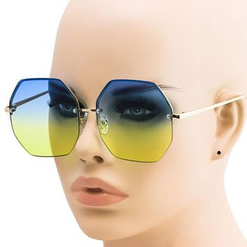 Elite Oversized Octagon Rimless Gradient Multi Color Lens Metal Frame Sunglasses