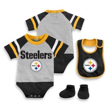 NFL Pittsburgh Steelers 3-Piece Creeper Bib and Bootie Set