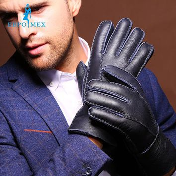 Cold winter men leather gloves fashion fur winter warm wool gloves winter gloves short warm thick leather gloves