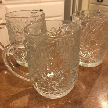 Set of 3 - PRINCESS HOUSE CRYSTAL FANTASIA REPLACEMENT MUGS SET POINSETTIA EUC