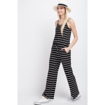 Casual Striped Jumpsuit  - Black