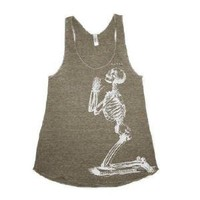 Supermarket - Wmns TriBlend Racerback Tank in Coffee Brown feat. Dirty Knees print in White from James Anthony Apparel