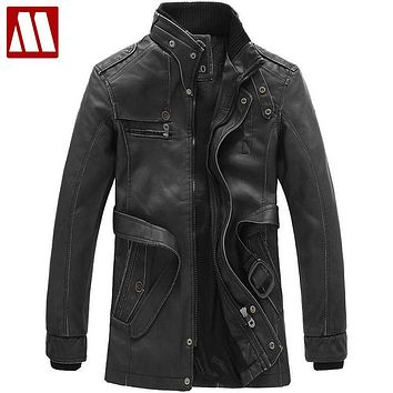 New 2015 men clothing Pu Leather jacket Winter coat motorcycle leather jackets cultivate one's morality trench coat high quality