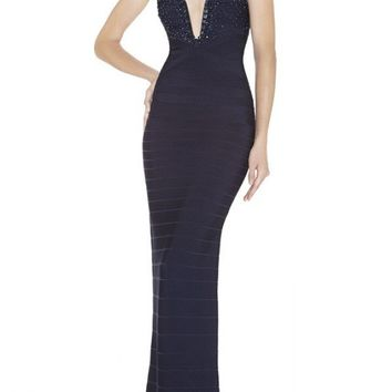 Beaded V-Neck Bandage Gown