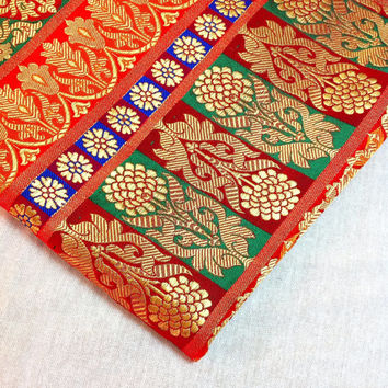 Multi Coloured brocade silk fabric - Fat Quarter