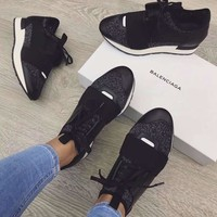 BaLenciaga Fashion Race Runner metallic stretch knit shoes