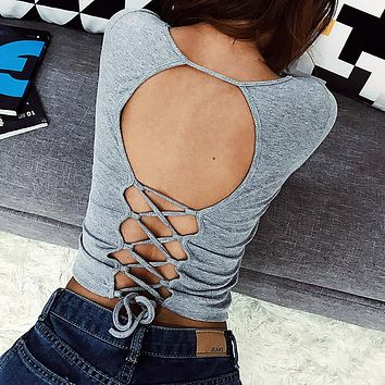 Stylish V-neck Backless Hollow Out Slim Long Sleeve T-shirts [11863304975]