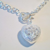 eBlueJay: Puffed Heart Pendant Necklace Crystal Costume Jewelry Valentines Day Fashion Accessories For Her