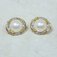 Vintage Faux Pearl and Rhinestone Clip On Earrings Goldtone