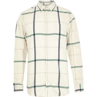 River Island MensEcru large check long sleeve shirt