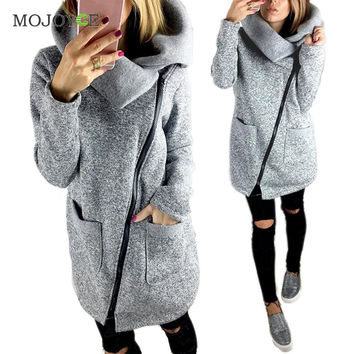 Fashion Warm Fleece Jacket Slant Zipper Collared Coat Slim fit Women Autumn Winter Clothes Plus Size Zipper Women Jacket