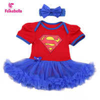 New Style Newborn Dress Baby Clothes Girls Superman Red Rompers Blue Ruffle Carters Toddler Tutu Dresses Girl Party Clothes
