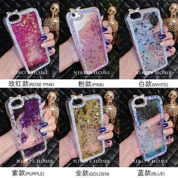 Dir-Maos For iPhone 8 Plus Case 5.5'' Diamond Sand Stars Water Fashion Glitter Liquid Cover Cool Down Phone Bling Lady Girl Gift