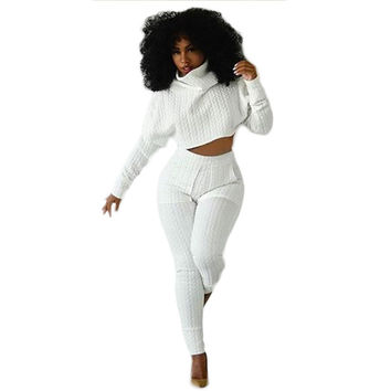 2015 New Style Rompers Bodycon Womens Jumpsuit Turtlenecks Long Sleeve Two pieces outfits White Overalls Crop Top and Long Pants