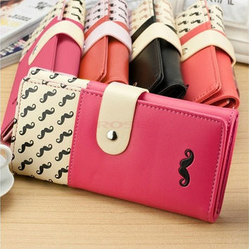New women wallet High quality smooth PU leather mustache woman purse clutch wallets lady coin purse cards holder SV003811 Bag [10198253063]