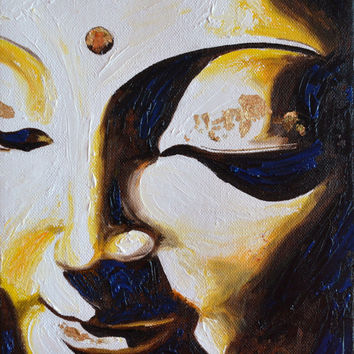 Yellow Light Buddha Original Oil Painting