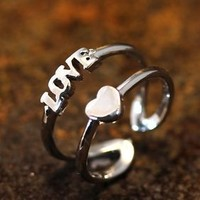 Love Heart Knuckle Double Lines Ring Adjustable Small Ring Silver Plated Jewelry