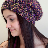 Crochet purple, gold and pink beanie slouch hat. Made by Bead Gs on ETSY.  Ladies Size.