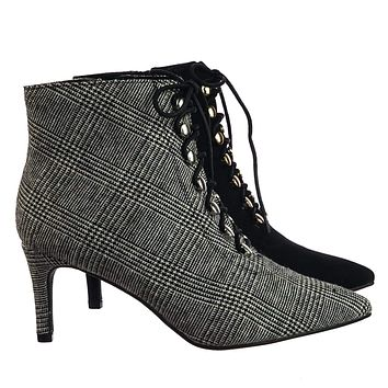 Longing12 Victorian Corset Lace Up Ankle Bootie w Low Heel & Tweed