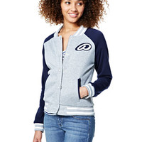 Fleece Varsity Patch Jacket - Grey