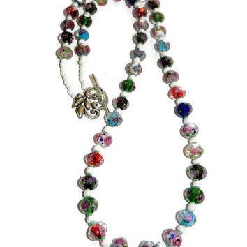 Glass Floral Beaded Necklace