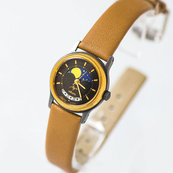 Women's quartz watch Moon Night calendar vintage, black face watch for lady Ray, gold shade watch small, unique gift watch new leather strap