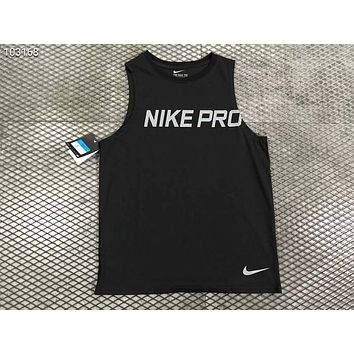 NIKE breathable and quick-drying basketball vest sports training sleeveless T-shirt F-AG-CLWM black