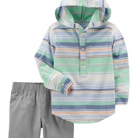 2-Piece Striped Pullover & Canvas Short Set