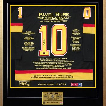 PAVEL BURE CAREER JERSEY #10 OF 199 AUTOGRAPHED - VANCOUVER CANUCKS
