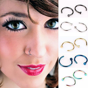 HSELL® Pack of 10pcs Assorted Nose Studs Rings,Stainless Steel Body Jewelry Piercing Nose Hoop Ring,Body Slave Jewelry,Unisex