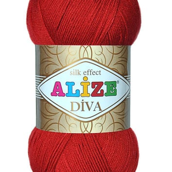 Alize Diva Yarn with Silk effect, Microfiber and Hypo-Allergenic Soft Acrylic Yarn. Pack of 5 skeins High Quality Turkish Yarn
