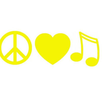 PEACE LOVE MUSIC Vinyl Decal Great for Macbooks by OwlOutfitters