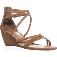 AR35 Calla Strappy Wedge Sandals, Camel, 11 US