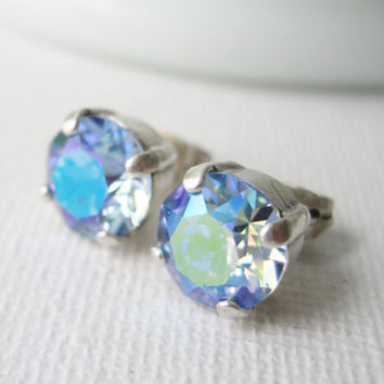 Blue Aurora Borealis Stud Earrings, Sapphire AB, Bridesmaid Earrings, Rainbow Earrings, Blue Studs, Large Stud Earrings, Summer Jewelry