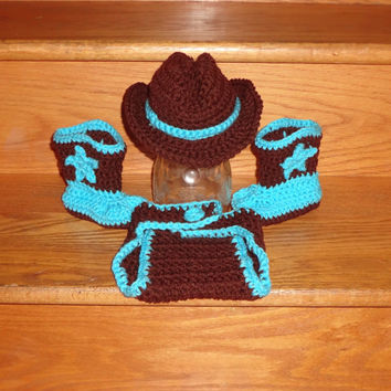 Newborn - 3 Month Baby Cowboy Hat & Star Boot Diaper Cover Complete Set Crochet Handmade Photo Prop Great Gift