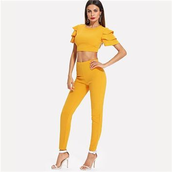 SHEIN Women Solid Ruffle Sleeve Short Stretchy Tops Long Pants Two Piece Set New Summer Casual Ginger Crop Top And Leggings Set