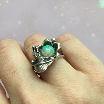 Opal ring, flower and leaf ring, size 5 6