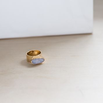 Ready Made White Oval Druzy Ring (size 7)