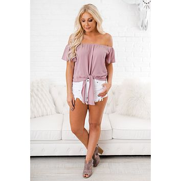 Baby Be Mine Off The Shoulder Top (Mauve)
