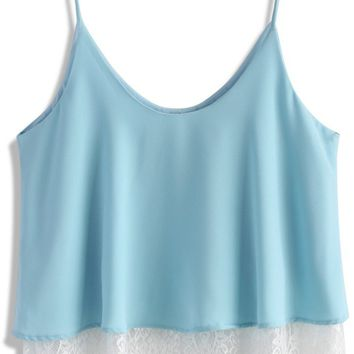 Breezy Lace Trimmed Cami Top in Blue