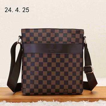 LV 2018 new casual men's business style briefcase shoulder bag Coffee Check