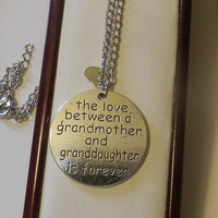 CIJ SALE Silver Love Between Grandmother and Granddaughter Necklace V4570 ready to ship