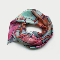 Silk Scarf, Plumeria Flowers Print Habotai Silk Scarf, Aqua Pink Coral Summer Scarves, Ladies Scarves, Unique Handmade Accessories UK