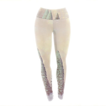 "Sylvia Cook ""Bottle Brush Trees"" Pink Yoga Leggings"