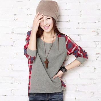 Women Casual Crew Neck Shirt Tops Plaids Check Blouse Long Sleeve Blouse