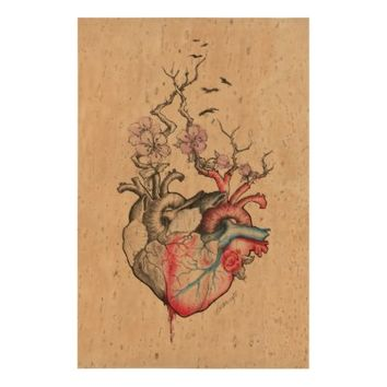 Love art merged anatomical hearts with flowers cork paper