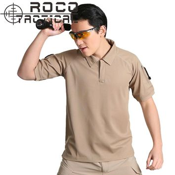 ROCOTACTICAL Mens Tactical Pocket T-Shirts Breathable Coolmax Military Army Hiking Shirts Utility Anti UV Camping T-Shirts