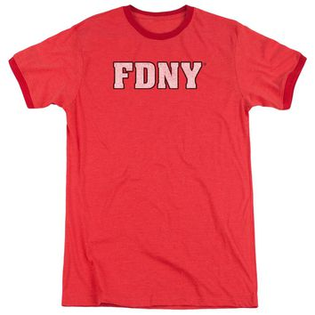 FDNY Ringer T-Shirt New York Fire Dept Logo Red Tee