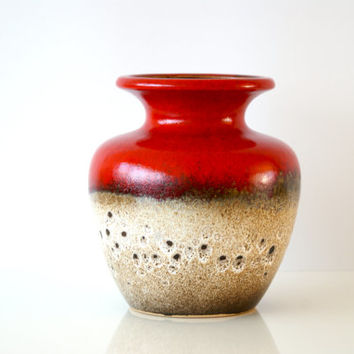 Vintage WEST GERMAN POTTERY Vase, Scheurich 202-18, Bright Red Brown Neutrals, Mid-Century Fat Lava, Made in Germany 1960s